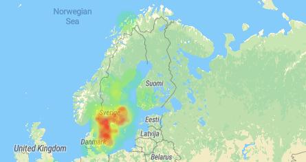 heatmap över vart folk har röstat i Sverige
